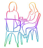 Women friends sitting and talking at a local coffee shop in sketch vector illustration