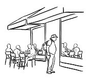 Coffeeshop illustration with terrace and customers sitting outdoor