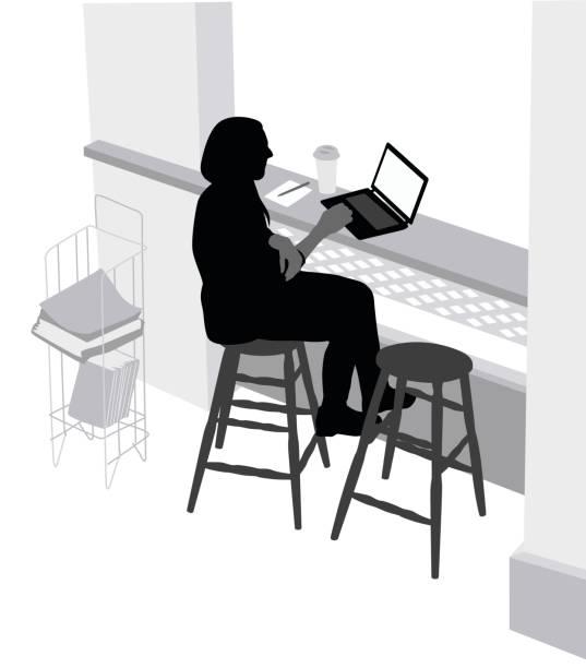 coffeeshop overhead schuss - stiftehalter stock-grafiken, -clipart, -cartoons und -symbole