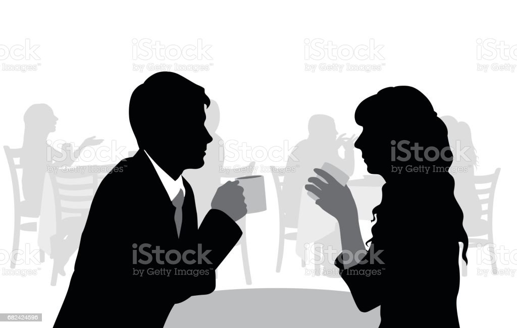 Coffeeshop Romance vector art illustration
