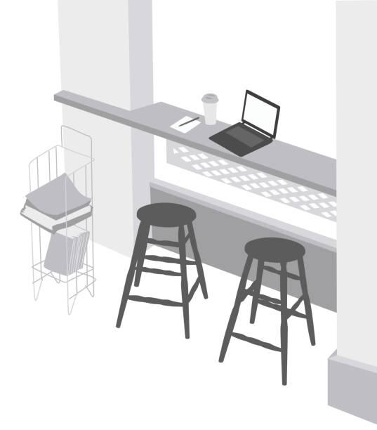 coffeeshop-station - stiftehalter stock-grafiken, -clipart, -cartoons und -symbole