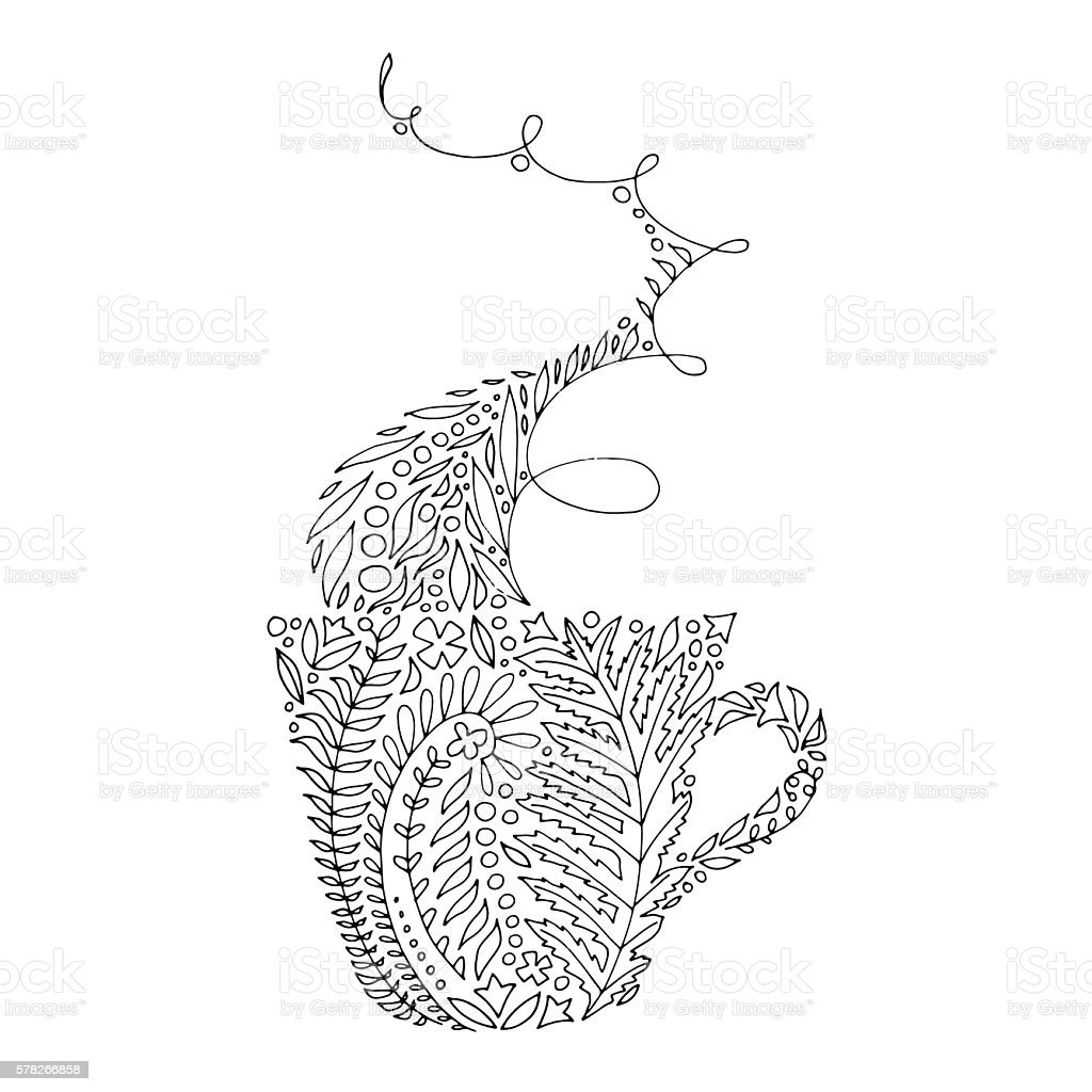 Coffeetea Cup With Condensation Vapor As Adult Coloring Page Stock