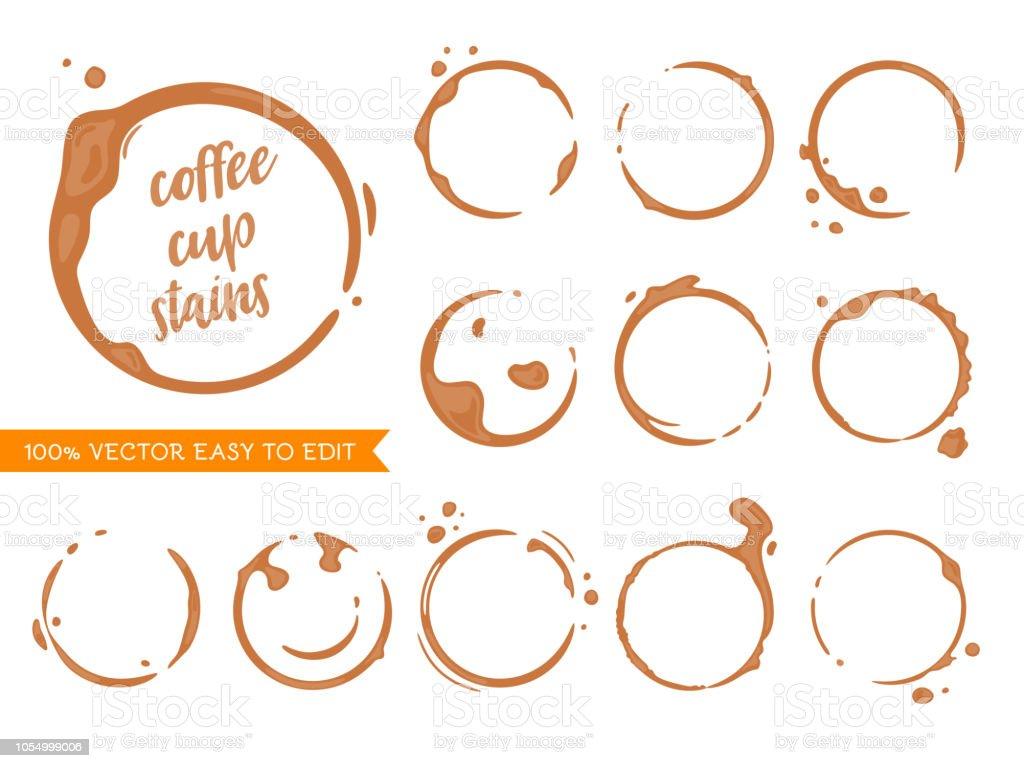 Cofffee stains - Grafika wektorowa royalty-free (Antropomorficzna twarz)