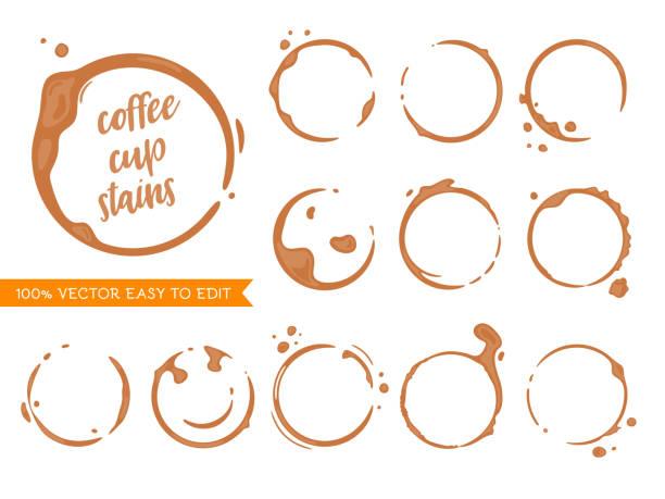 ilustrações, clipart, desenhos animados e ícones de cofffee manchas - café