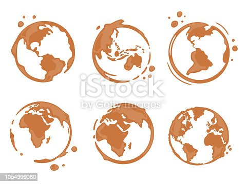 Collection of coffee cup round stains shaped like a world map or globe. All continents: North and South America, Europe, Asia, Africa, Australia. Vector drops and splashes on white.