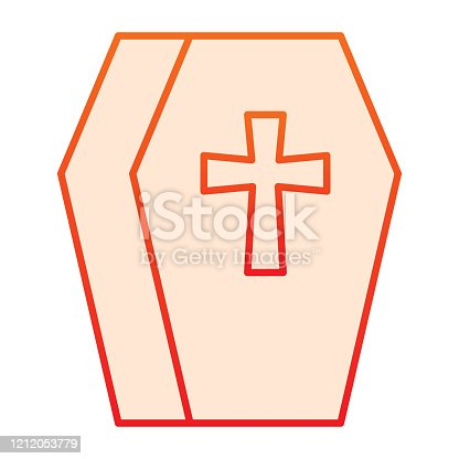 istock Coffin line icon. Cemetery box with a cross sign. Halloween party vector design concept, outline style pictogram on white background. 1212053779
