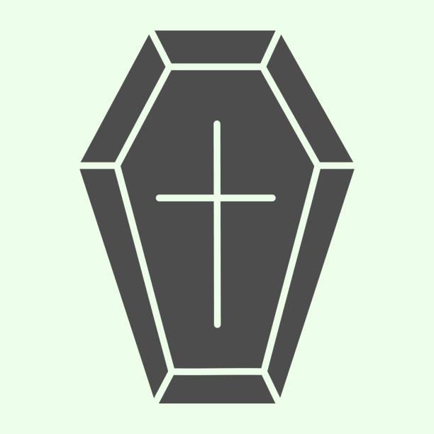 bildbanksillustrationer, clip art samt tecknat material och ikoner med coffin solid ikon. begravning träkista med cross glyph stil piktogram på vit bakgrund. halloween död vampyr begravning kista för mobilkoncept och webbdesign. vektorgrafik. - wood sign isolated