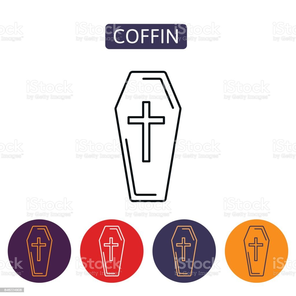 Coffin vector icon. vector art illustration