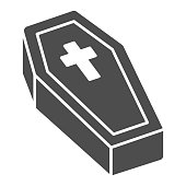 Coffin with cross solid icon, halloween concept, coffin sign on white background, dracula bed icon in glyph style for mobile concept and web design. Vector graphics