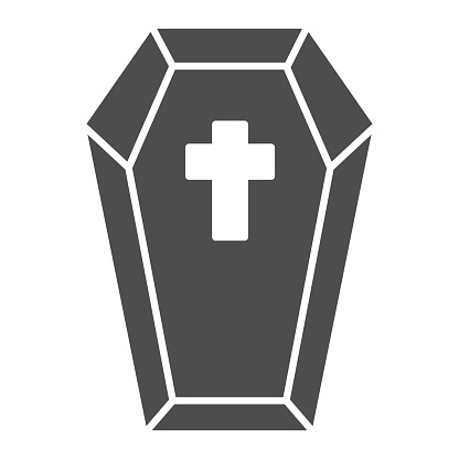 Coffin with cross solid icon, halloween concept, preparing dead for funeral sign on white background, dracula bed icon in glyph style for mobile concept and web design. Vector graphics.