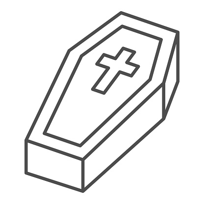Coffin with cross thin line icon, halloween concept, coffin sign on white background, dracula bed icon in outline style for mobile concept and web design. Vector graphics.
