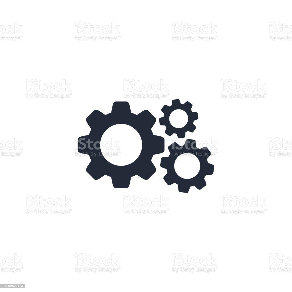 Cog Gear icon vector flat sign isolated on white - arte vettoriale royalty-free di Affari