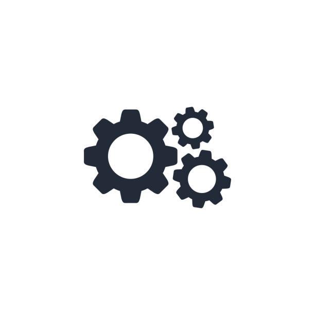 illustrazioni stock, clip art, cartoni animati e icone di tendenza di cog gear icona vettore segno piatto isolato su bianco - attrezzatura