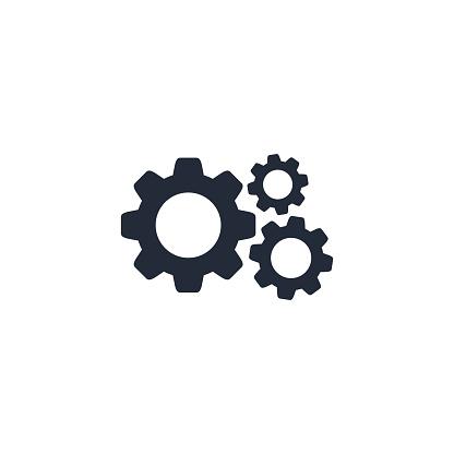 Cog Gear Icon Vector Flat Sign Isolated On White - Immagini vettoriali stock e altre immagini di Affari