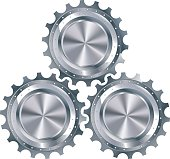 Cog gears mechanism include three metallic elements in profile, isolated