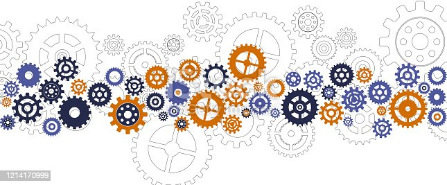 cogs gears synchronized arrangement template background