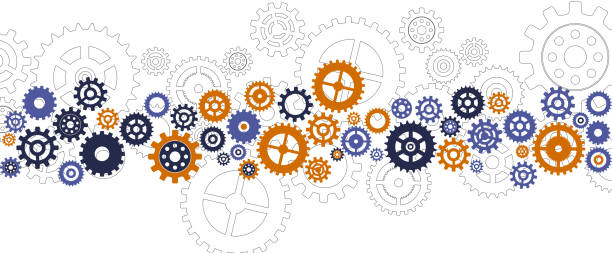 cog stripe template cogs gears synchronized arrangement template background gearshift stock illustrations