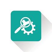 Cog wheels inspection flat icon. Configuration vector illustration
