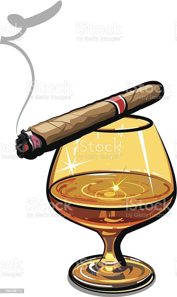 Cognac and cigar vector art illustration