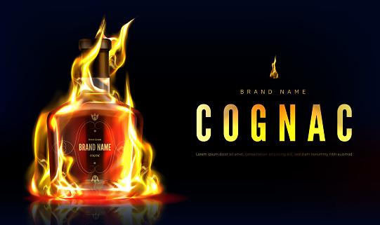 Cognac bottle in fire advertising promo banner
