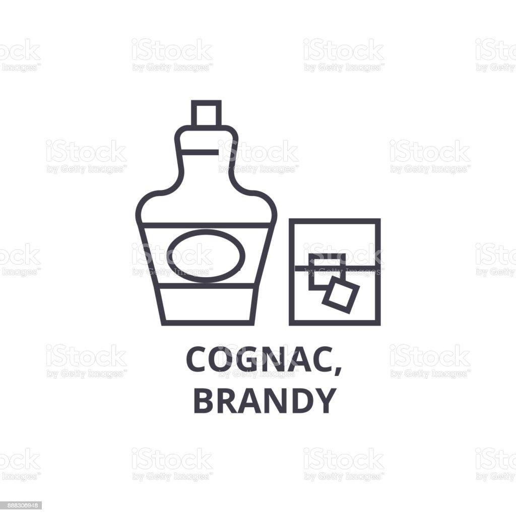 cognac, brandy line icon, outline sign, linear symbol, vector, flat illustration vector art illustration