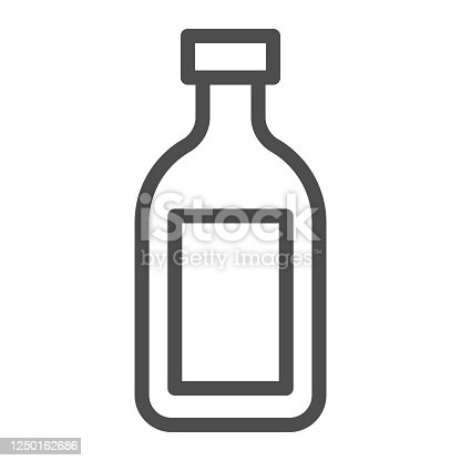 istock Cognac line icon, alcohol drinks concept, Cognac brandy bottle sign on white background, alcohol glass bottle icon in outline style for mobile concept and web design. Vector graphics. 1250162686