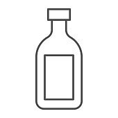 istock Cognac thin line icon, alcohol drinks concept, Cognac brandy bottle sign on white background, alcohol glass bottle icon in outline style for mobile concept and web design. Vector graphics. 1250162625