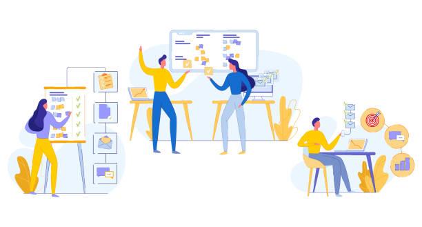 ilustrações, clipart, desenhos animados e ícones de execução de tarefas de trabalho em equipe de banner cognitivo plana. - afazeres domésticos