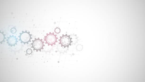 stockillustraties, clipart, cartoons en iconen met tandwielen en tandwiel mechanismen. hi-tech digitale technologie en engineering. abstracte technische achtergrond. - automatiseren
