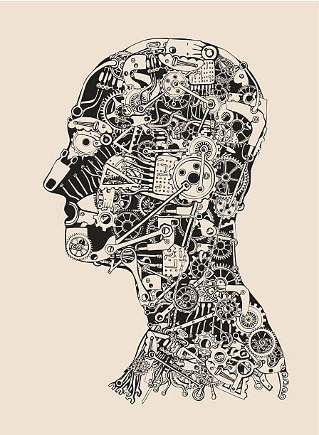 Cogs and Gears Human Head. Cyborg profile. vector art illustration