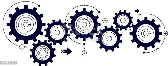 cog wheels synchronised movement