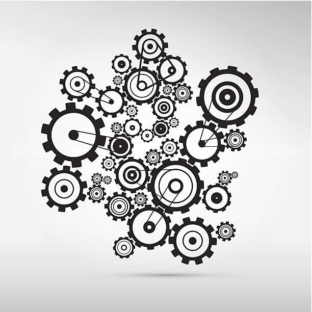 cogs -gears illustration - machine stock illustrations, clip art, cartoons, & icons