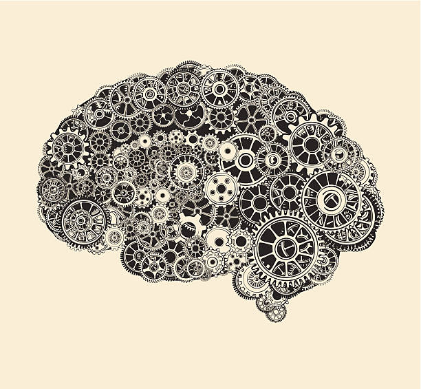 cogs in the shape of a human brain. - machine stock illustrations, clip art, cartoons, & icons