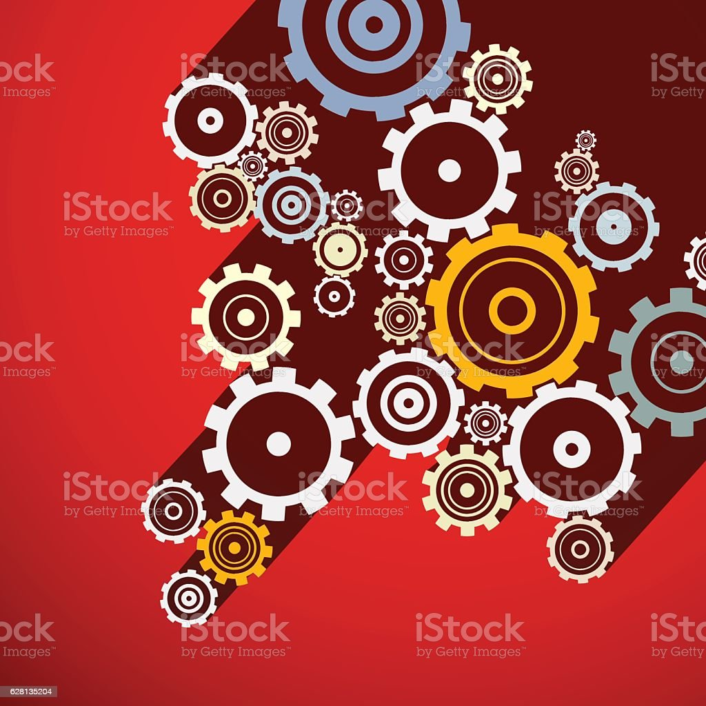 Cogs on Red Background vector art illustration