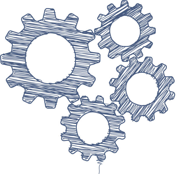 cogs pen kritzeln - metallverarbeitung stock-grafiken, -clipart, -cartoons und -symbole