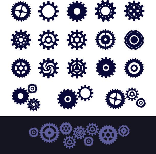 ilustraciones, imágenes clip art, dibujos animados e iconos de stock de engranajes conjunto - rueda dentada