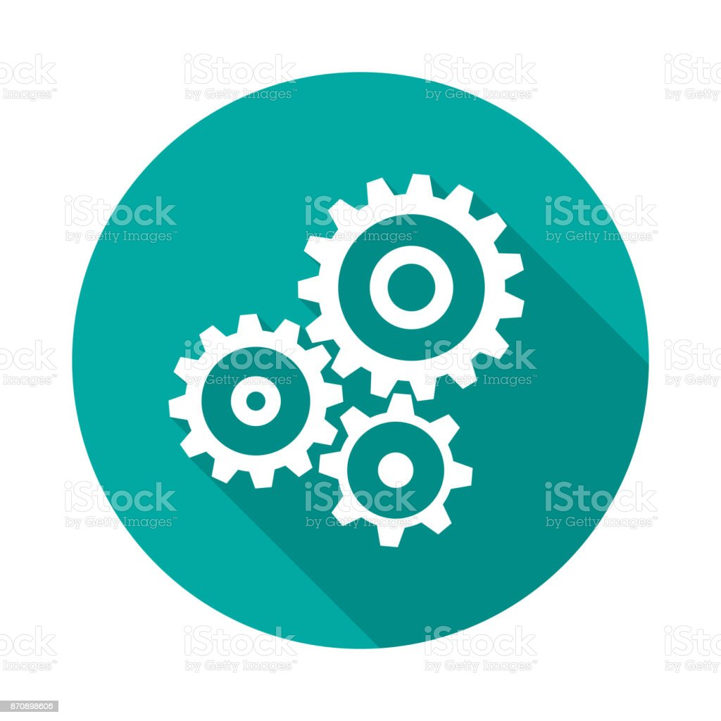 Cogwheel gear circle icon with long shadow. Flat design style. royalty-free cogwheel gear circle icon with long shadow flat design style stock illustration - download image now