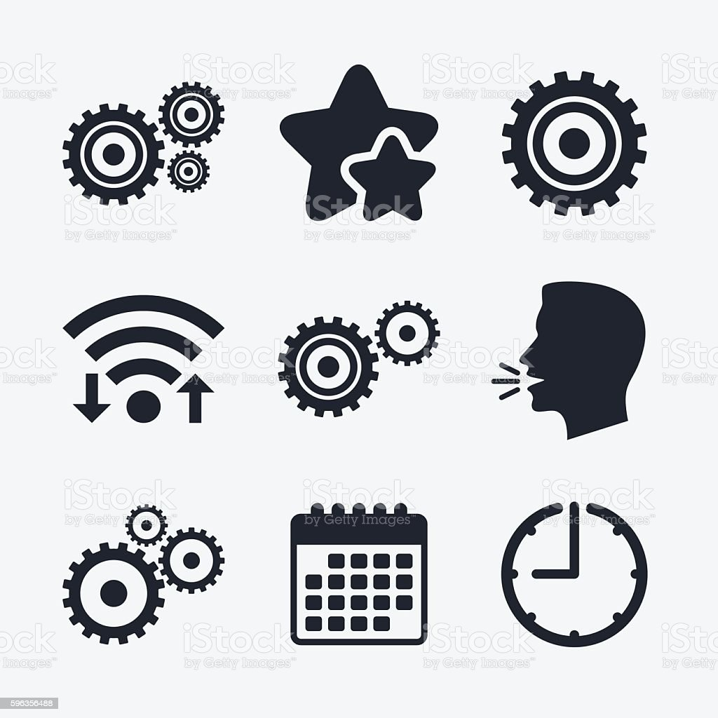 Cogwheel gear icons. Mechanism symbol. royalty-free cogwheel gear icons mechanism symbol stock vector art & more images of badge