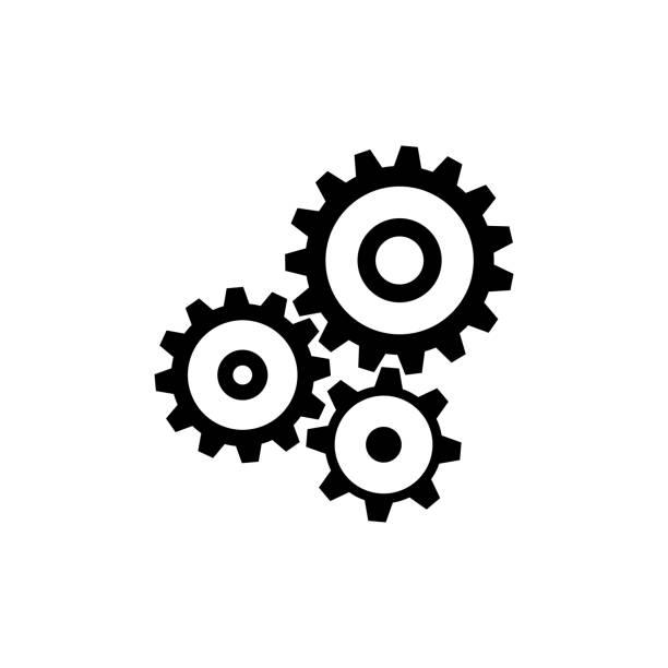 zahnrad zahnrad-mechanismus-symbol. schwarz, minimalistischen symbol isoliert auf weißem hintergrund. - kunstaktivitäten stock-grafiken, -clipart, -cartoons und -symbole