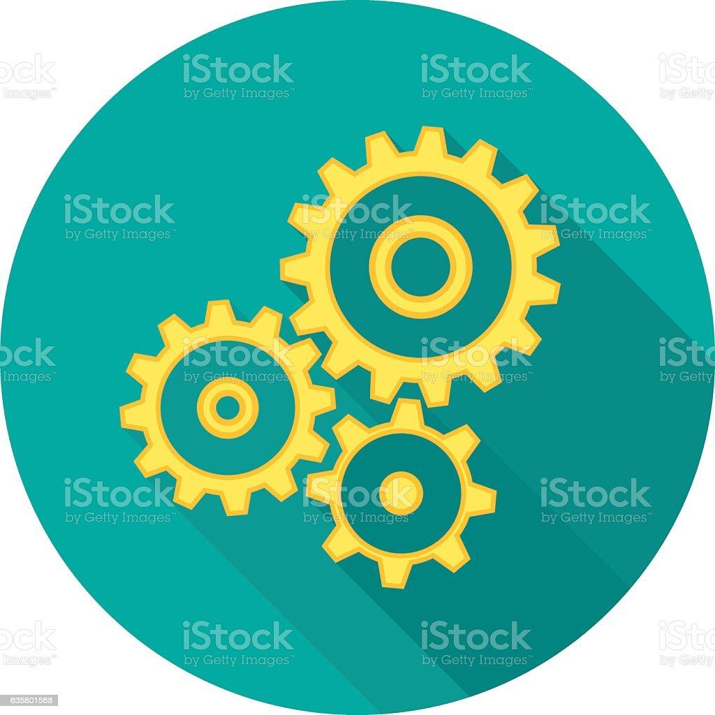 Cogwheel gear mechanism icon with long shadow. vector art illustration