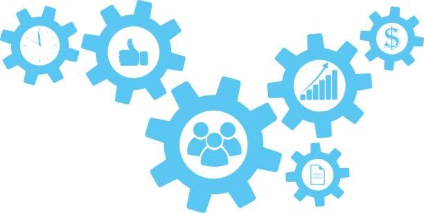cogwheel gear mechanism vector settings icon set - oś czasu pomoc wizualna stock illustrations