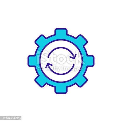 istock Cogwheel rotation RGB color icon 1296334726