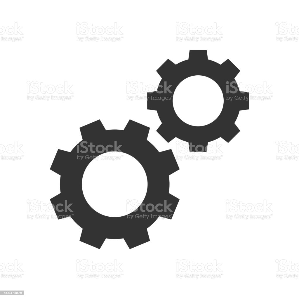 Cogwheels black icon vector art illustration