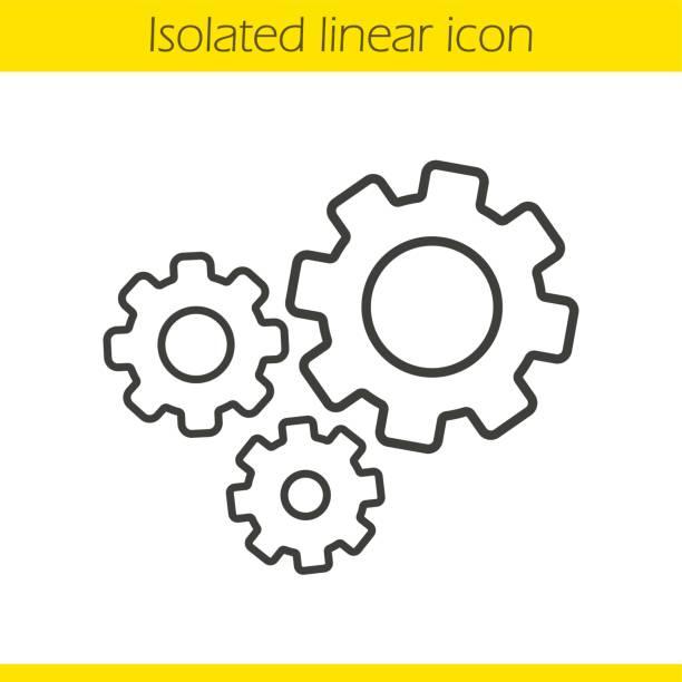 cogwheels-symbol - maschinenteil ausrüstung und geräte stock-grafiken, -clipart, -cartoons und -symbole