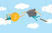 Coin and business suitcase swinging on flying trapeze