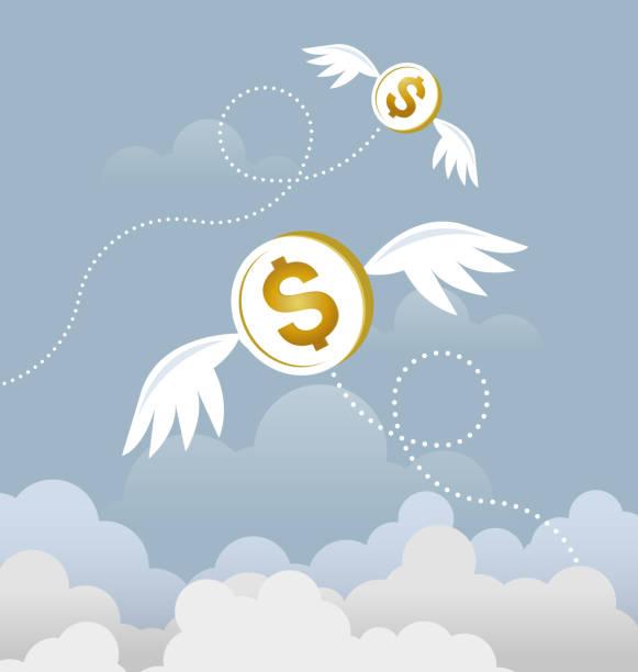 하늘을 날고 날개 동전 달러입니다. 잃어버린된 돈 개념 - lost stock illustrations