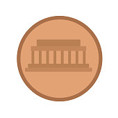 Coin flat illustration on white