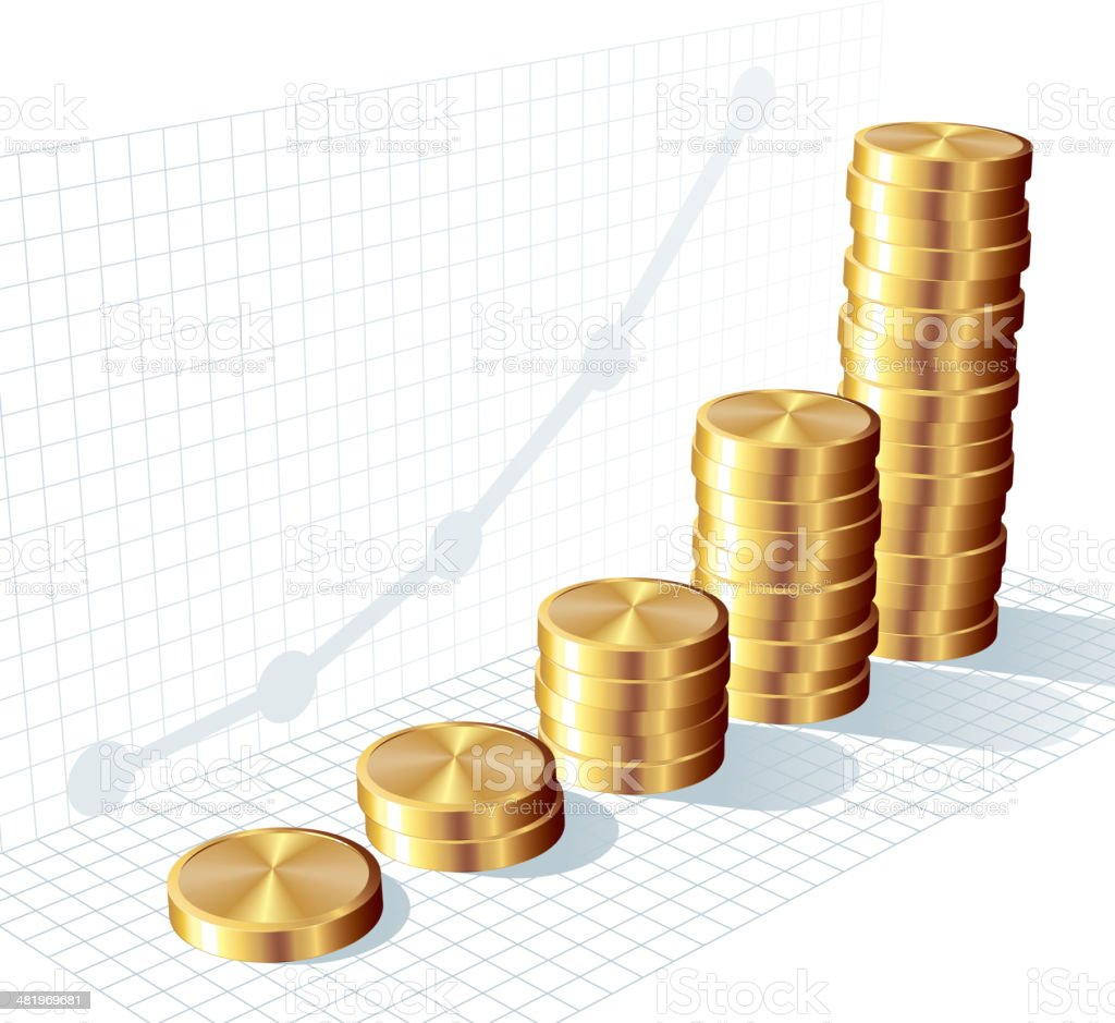 Coin graph royalty-free stock vector art