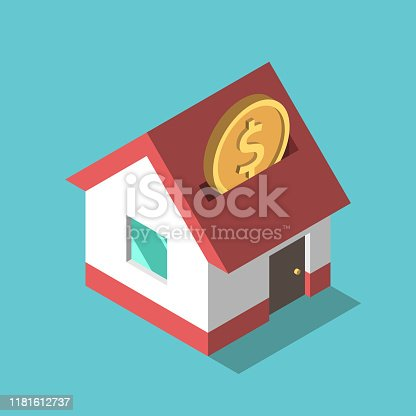 One isometric gold dollar coin falling into house piggy bank on turquoise blue. Investment, saving, dream, payment and wealth concept. Flat design. Vector illustration, no transparency, no gradients