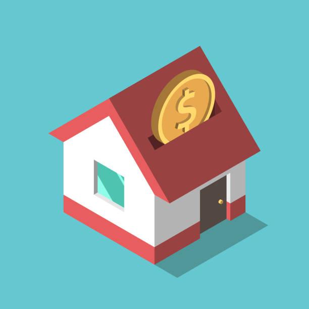 bildbanksillustrationer, clip art samt tecknat material och ikoner med mynt, house piggy bank - bebyggelse